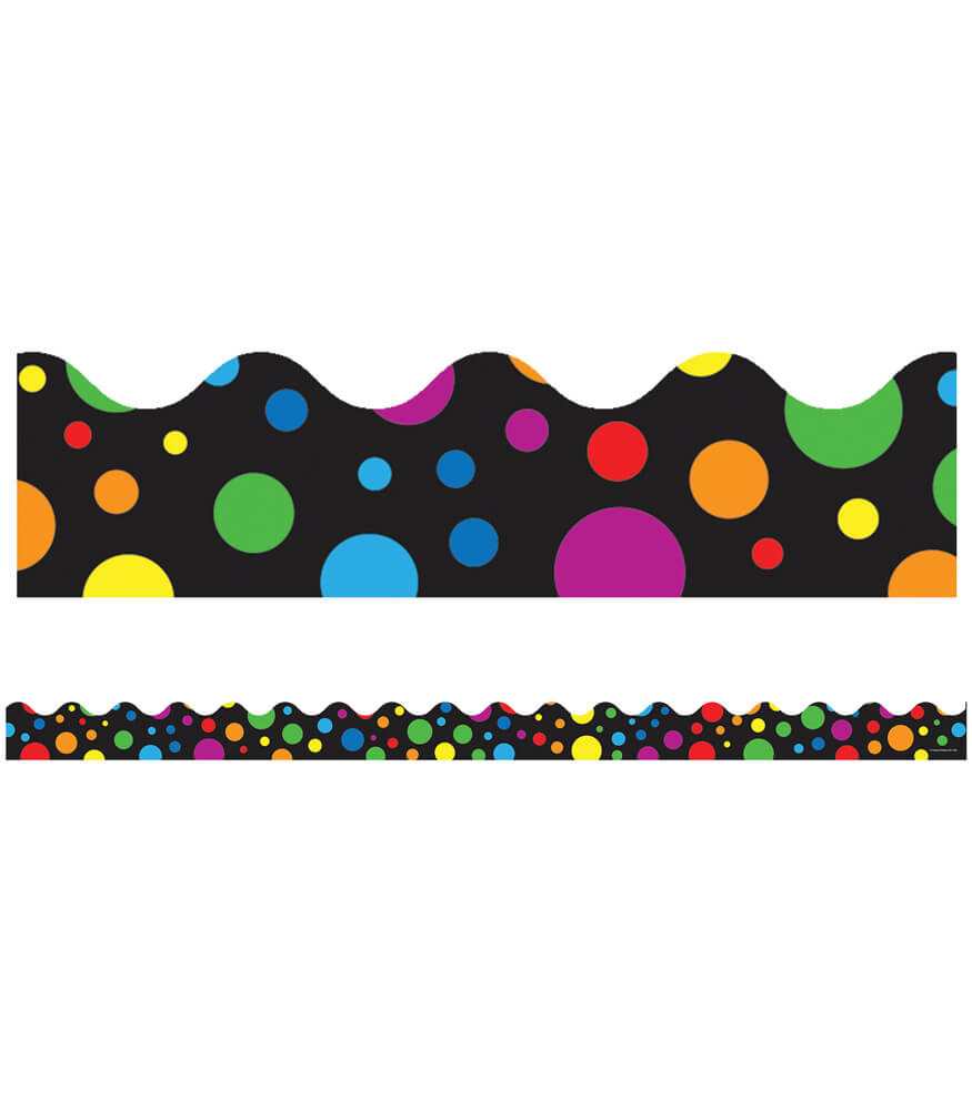 Big Rainbow Dots Scalloped Borders