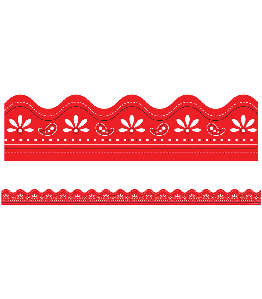 red bandana scalloped borders