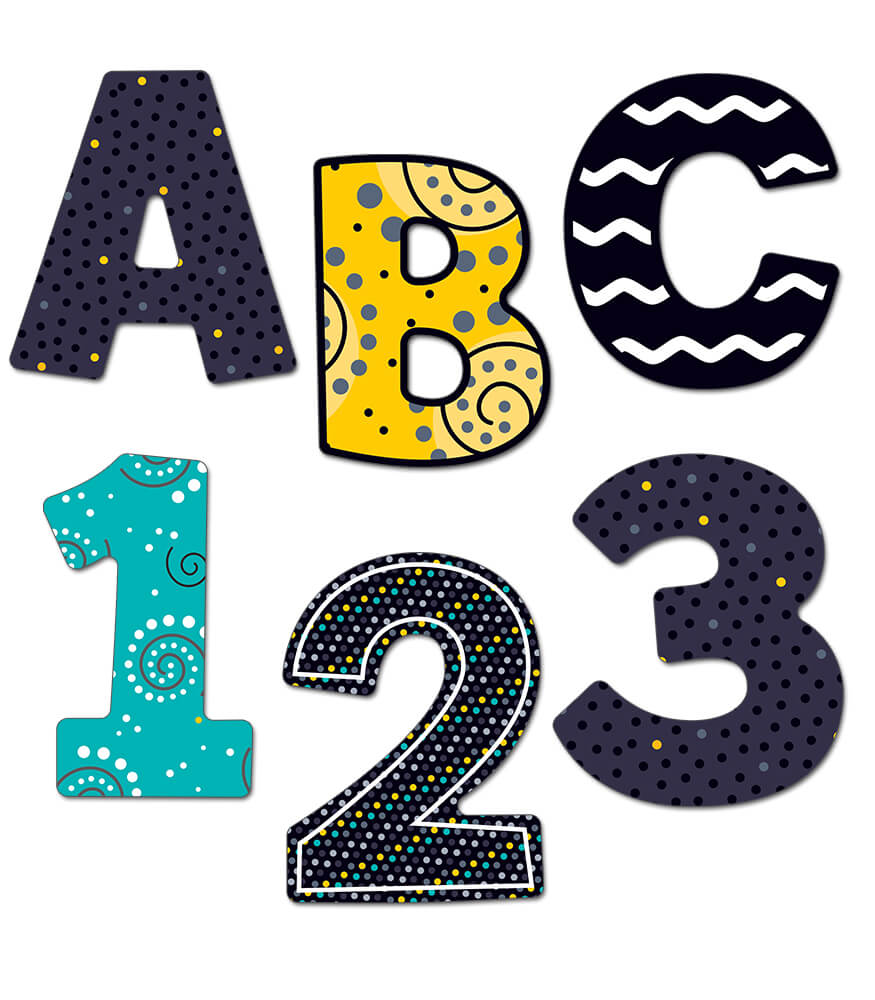 4 inch Black, White & Bold   EZ Letters Product Image
