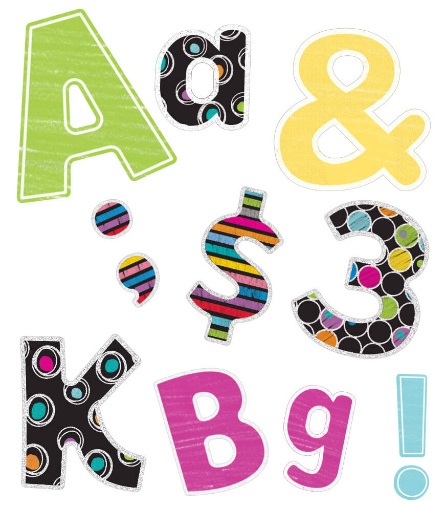 Colorful Chalkboard Letters, Numbers, and Symbols Printable Letters Product Image