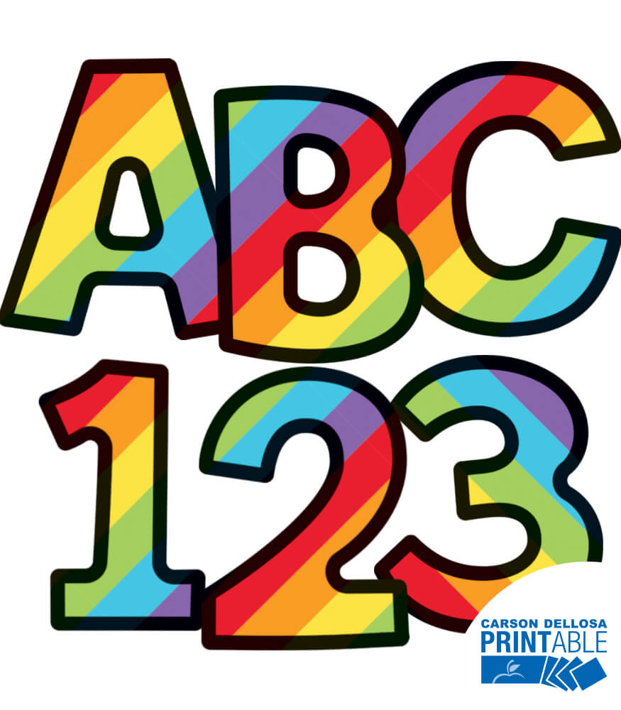 Rainbow Stripe Letters Numbers And Symbols Printable Letters