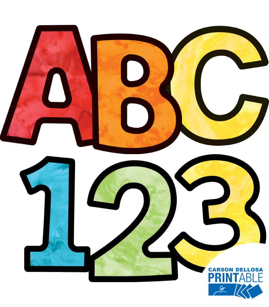 Watercolor Letters, Numbers, and Symbols Printable Letters Product Image