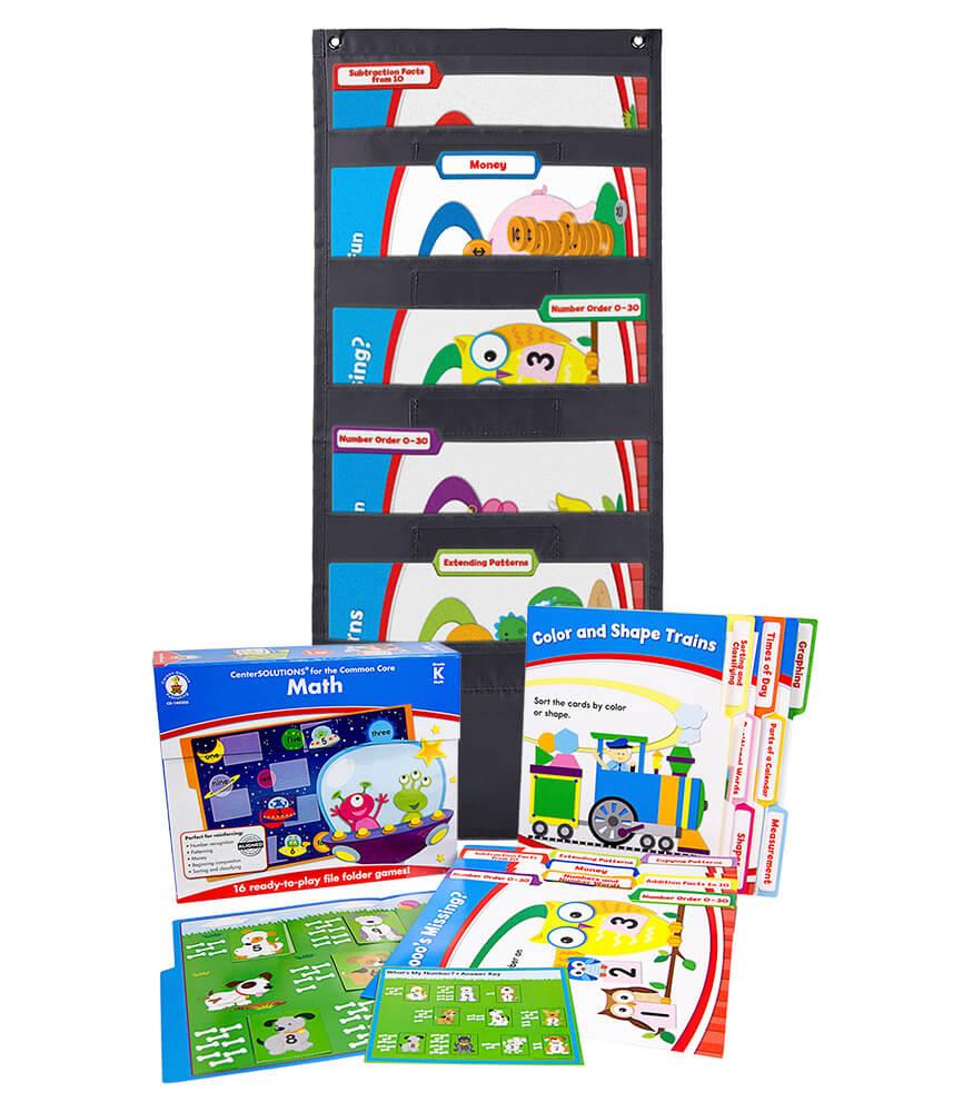 Math File Folder Game and Black Pocket Chart Classroom Kit Product Image