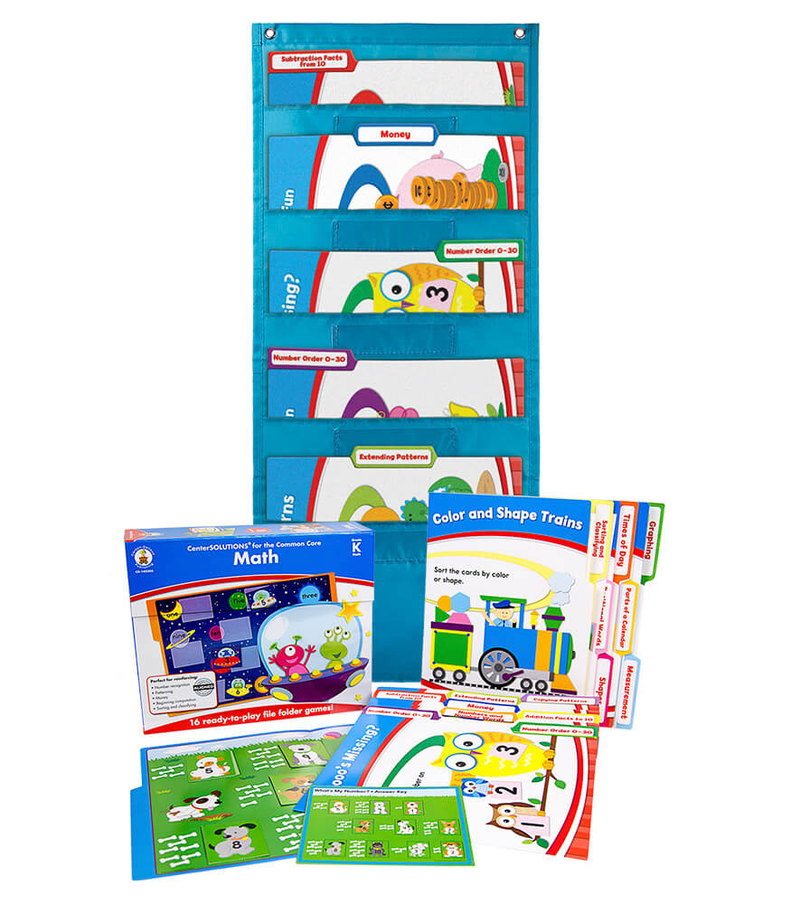 Math File Folder Game and Teal Pocket Chart Classroom Kit