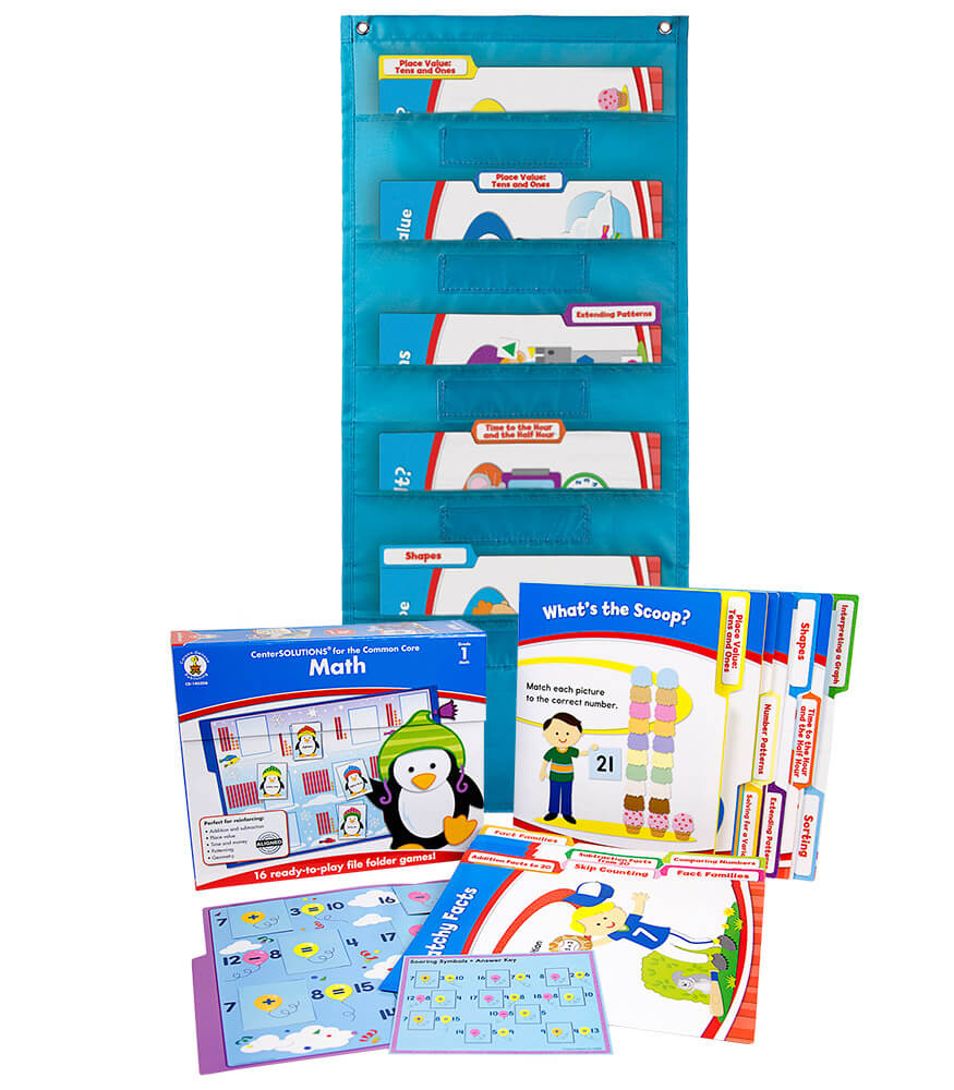 Math File Folder Game and Teal Pocket Chart Classroom Kit Product Image