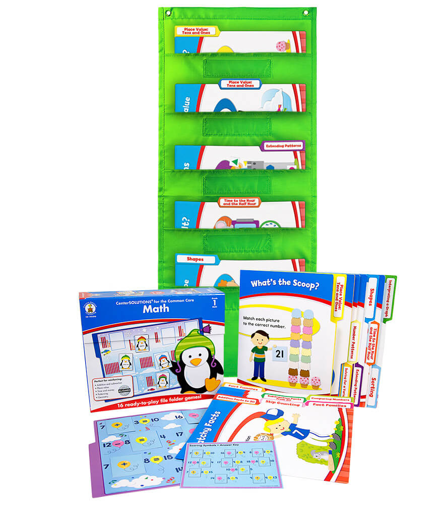 Math File Folder Game and Lime Pocket Chart Classroom Kit Product Image