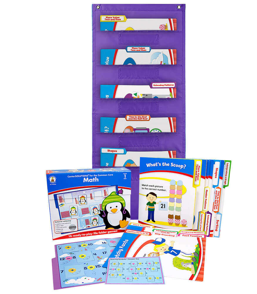 Math File Folder Game and Purple Pocket Chart Classroom Kit Product Image