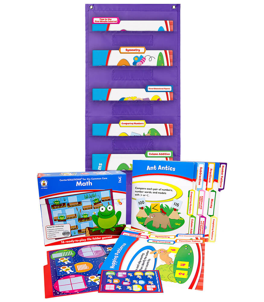 Math File Folder Game and Purple Pocket Chart Classroom Kit Product Image