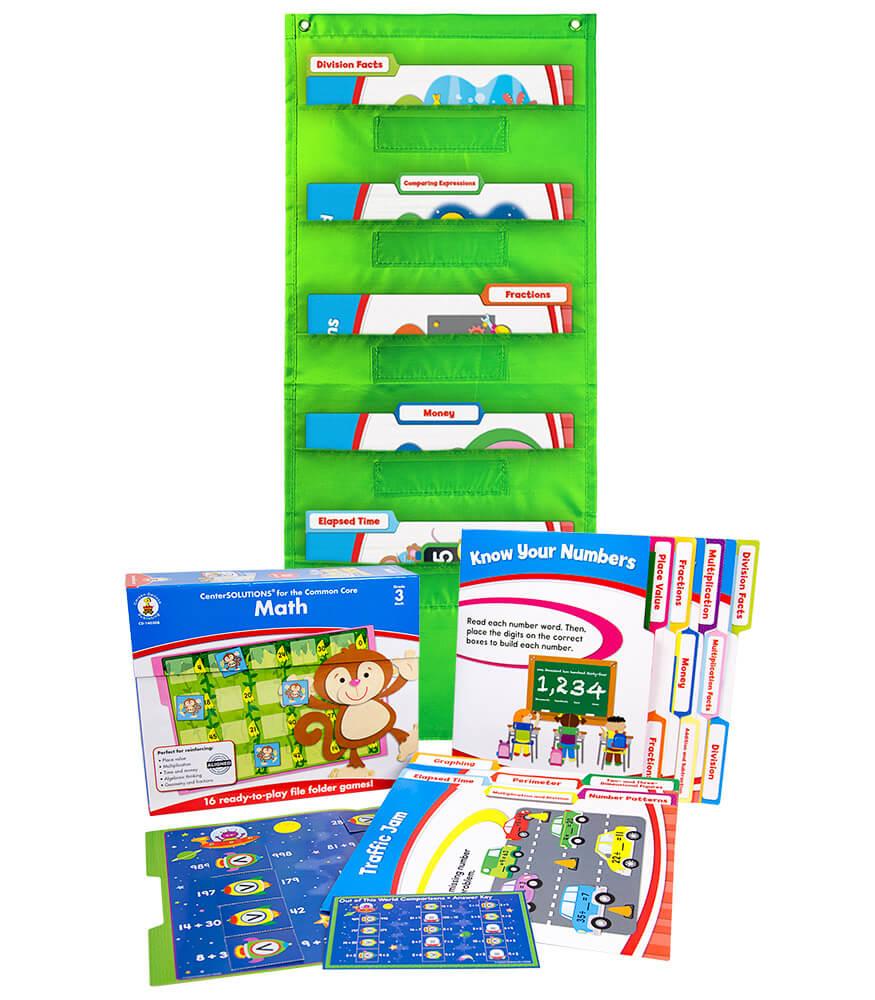Math File Folder Game and Lime Pocket Chart Classroom Kit Product Image