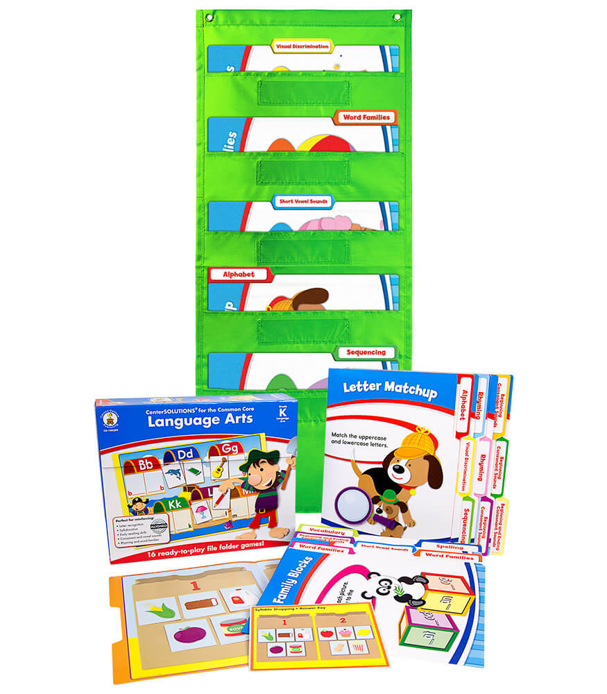 Language Arts File Folder Game and Lime Pocket Chart Classroom Kit Product Image