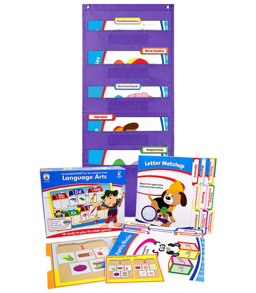 Language Arts File Folder Game and Purple Pocket Chart Classroom Kit Product Image