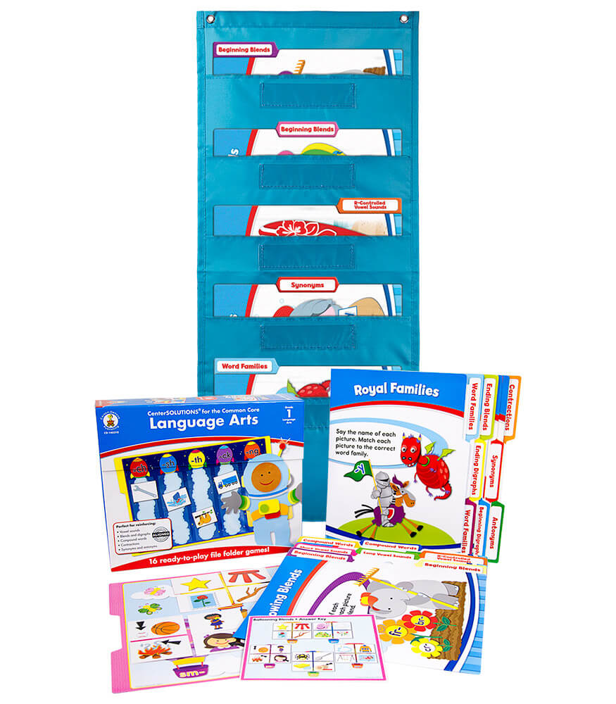 Language Arts File Folder Game and Teal Pocket Chart Classroom Kit Product Image