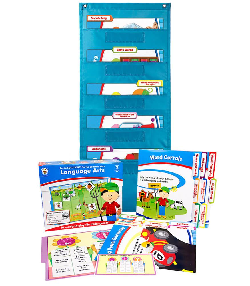 Language Arts File Folder Game and Teal Pocket Chart Classroom Kit Product Image