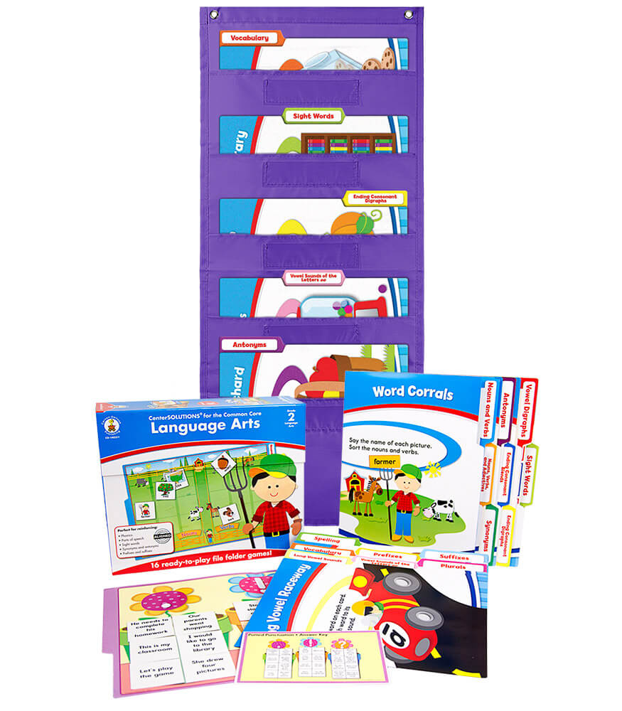 Language Arts File Folder Game and Purple Pocket Chart Classroom Kit Product Image