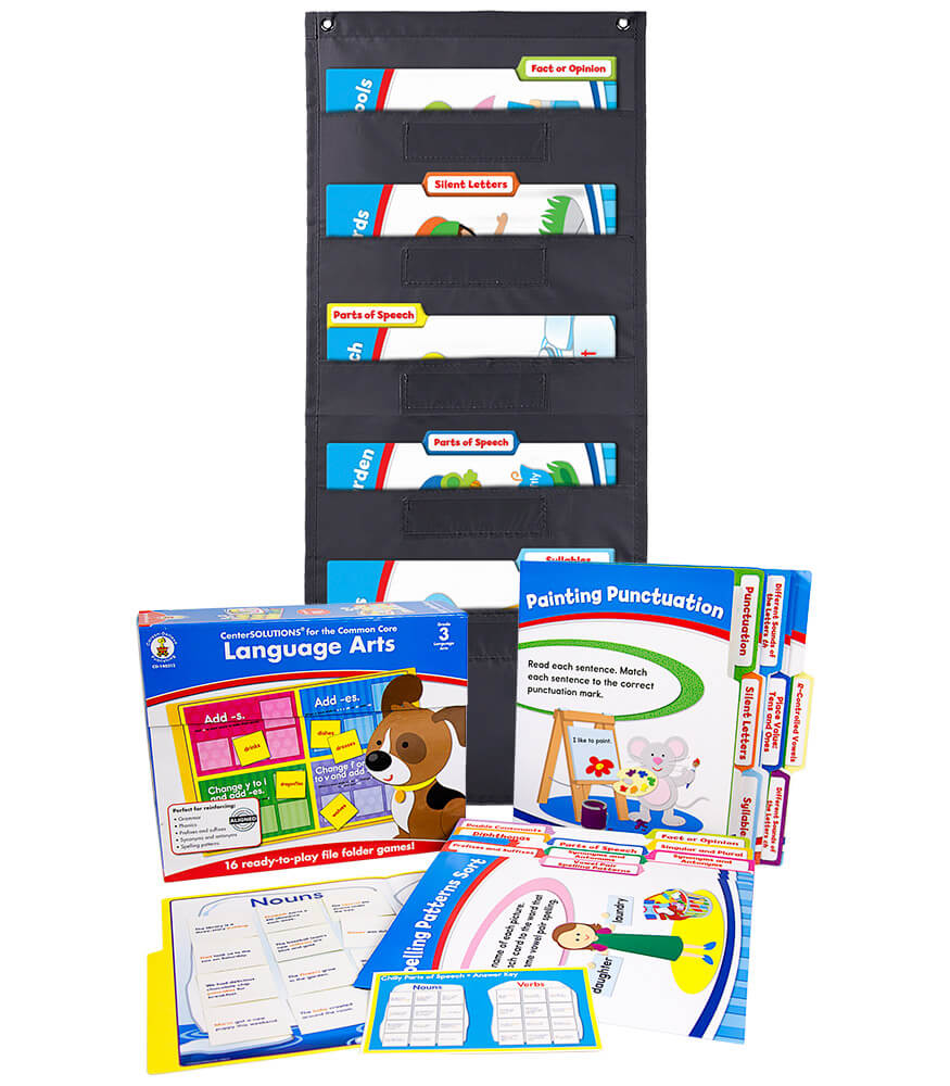 Language Arts File Folder Game and Black Pocket Chart Classroom Kit Product Image