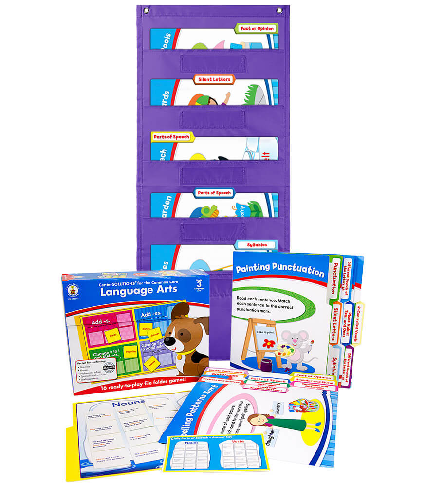 Language Arts File Folder Games and Purple Pocket Chart Classroom Kit Product Image