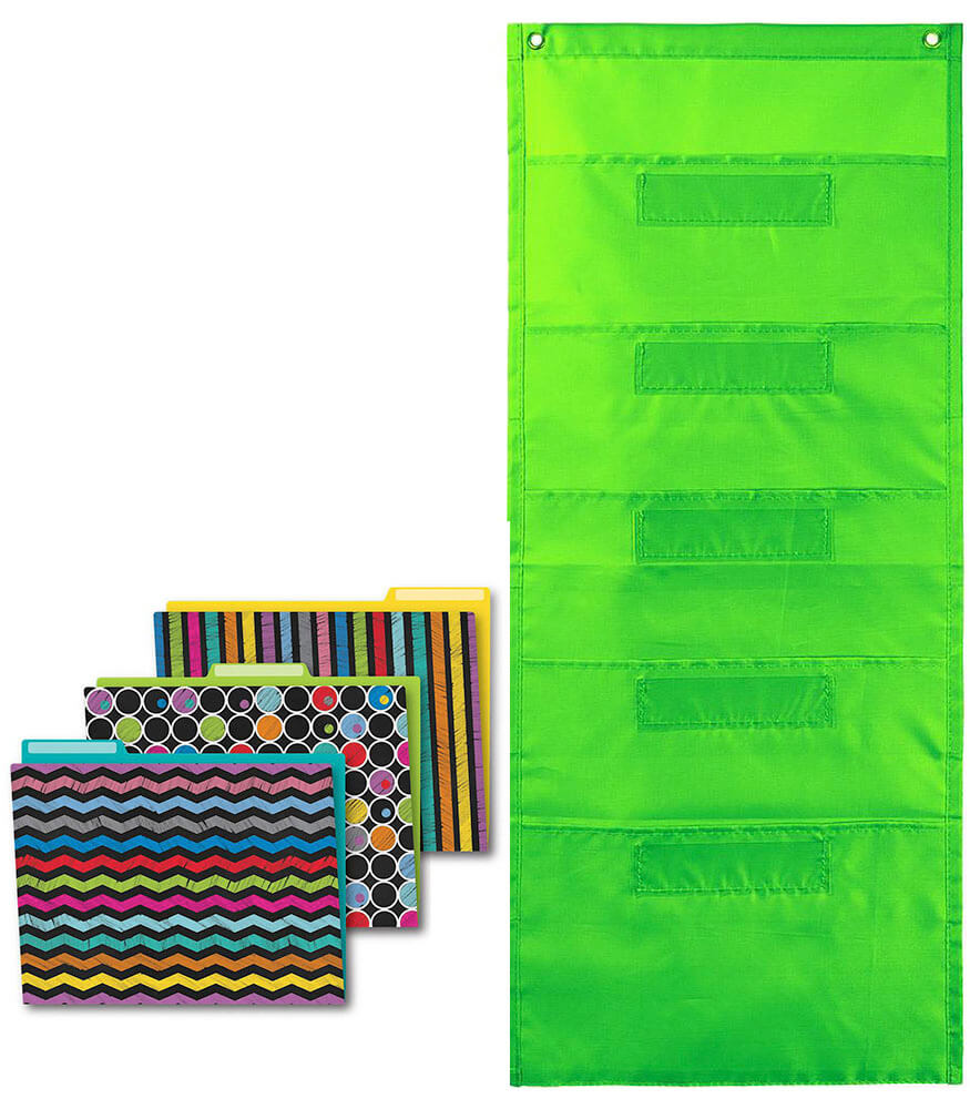 Colorful Chalkboard File Folders and Lime Pocket Chart Organization Set
