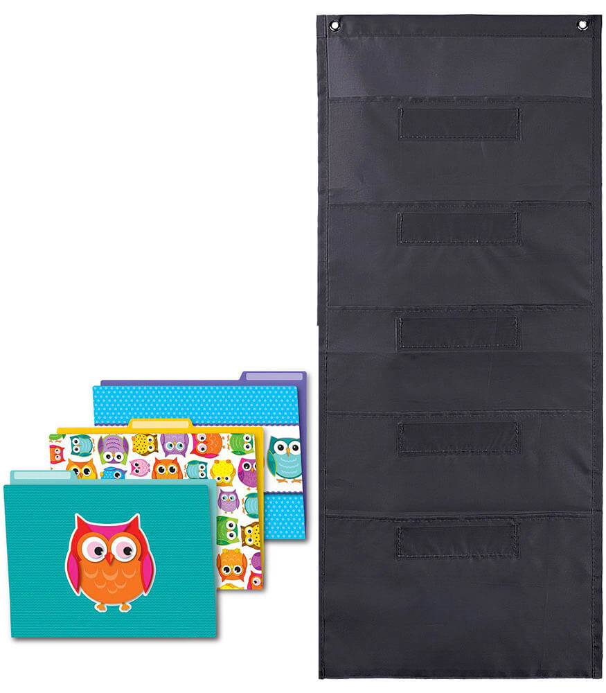 Colorful Owl File Folders and Black Pocket Chart Organization Set Product Image