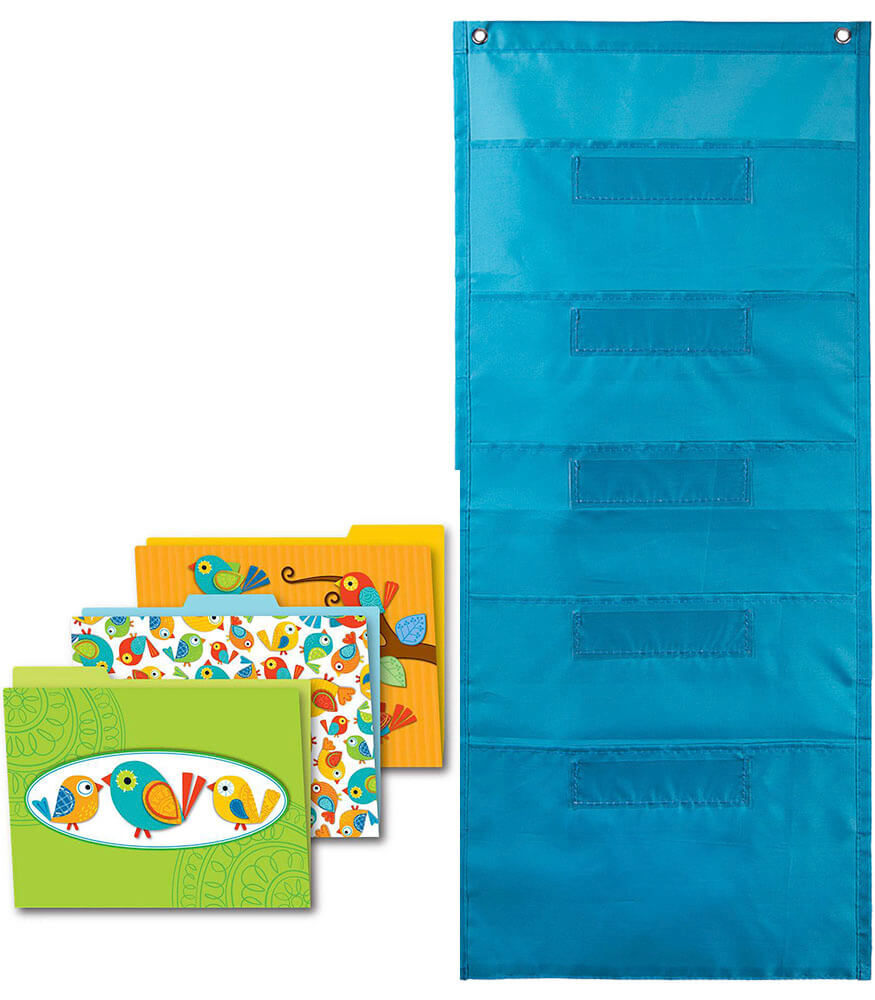 Boho Birds File Folders and Teal Pocket Chart Organization Set