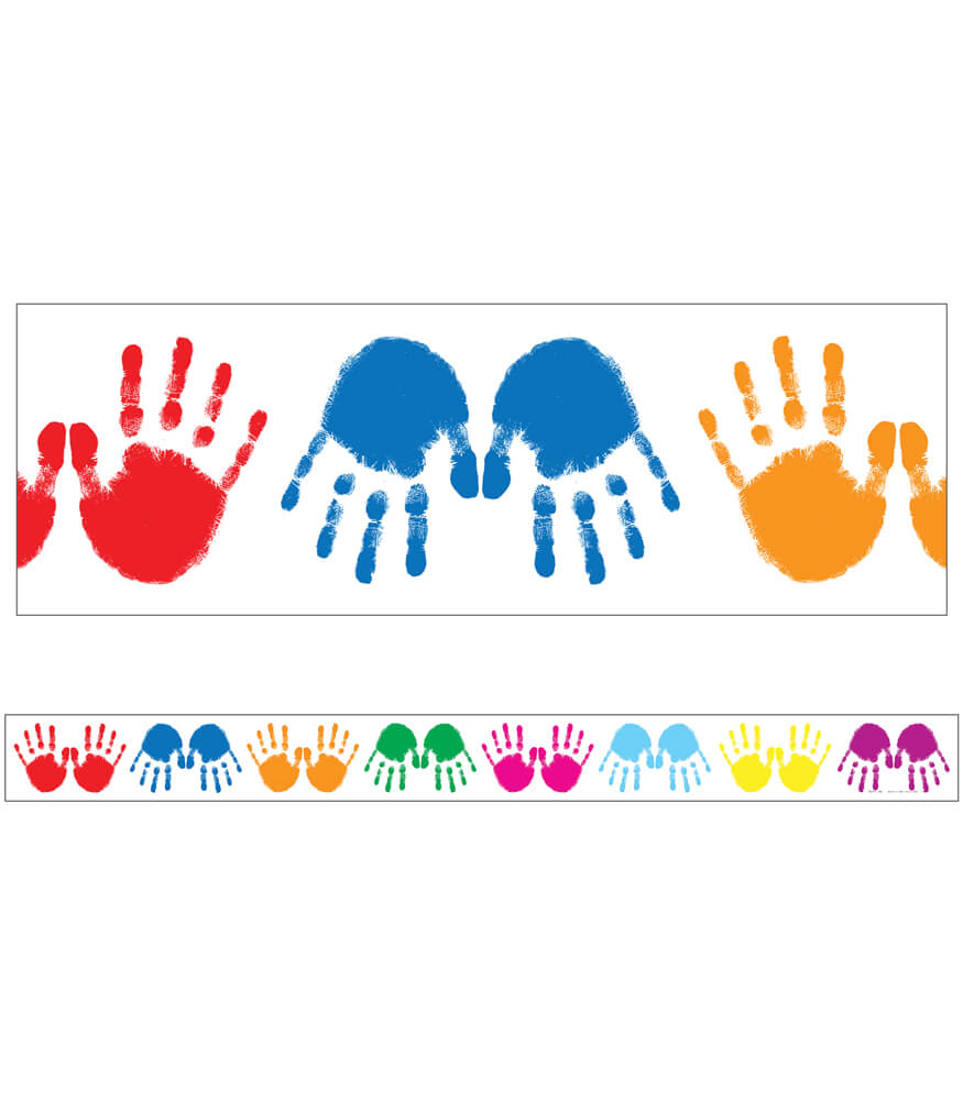 Colorful Handprints Straight Borders Product Image