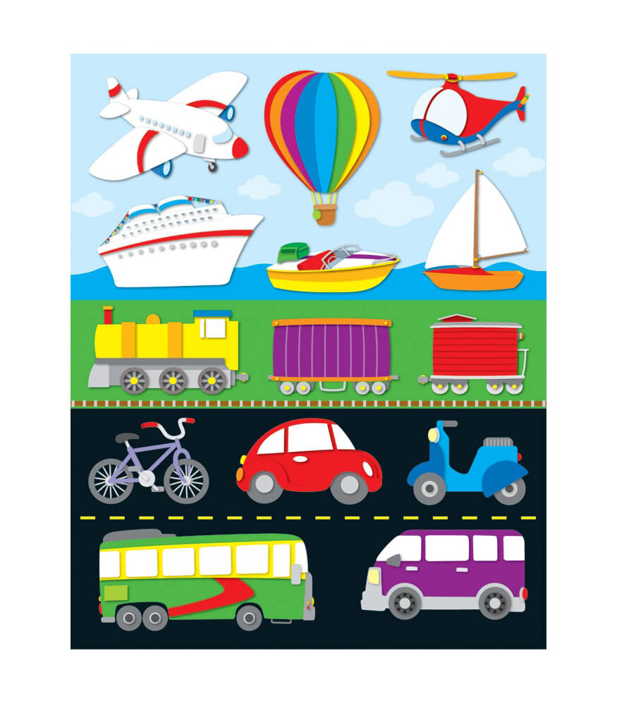 Classroom Decoration Ideas For Summer ~ Transportation shape stickers