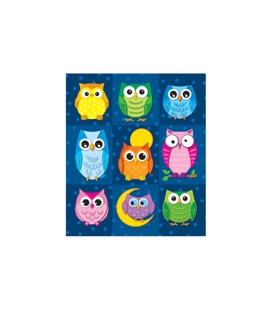Colorful Owl Classroom Decorations ~ Colorful owls prize pack stickers