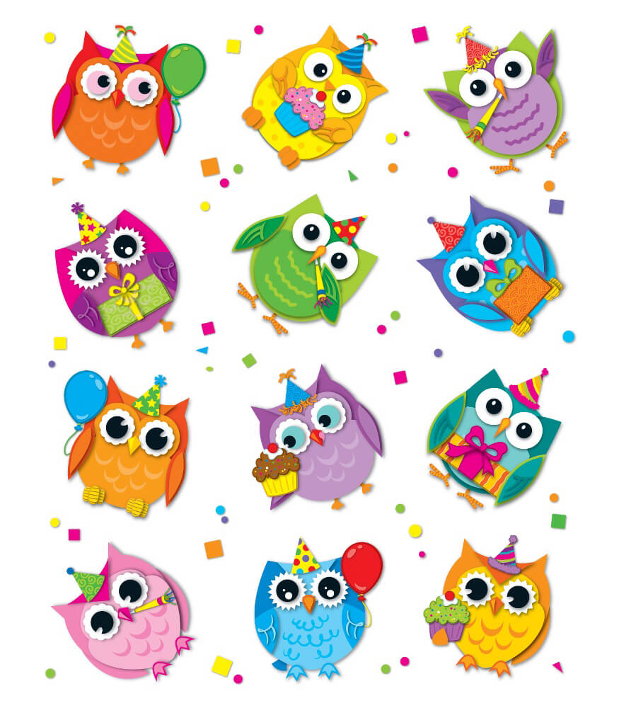 Celebrate with Colorful Owls Shape Stickers Product Image