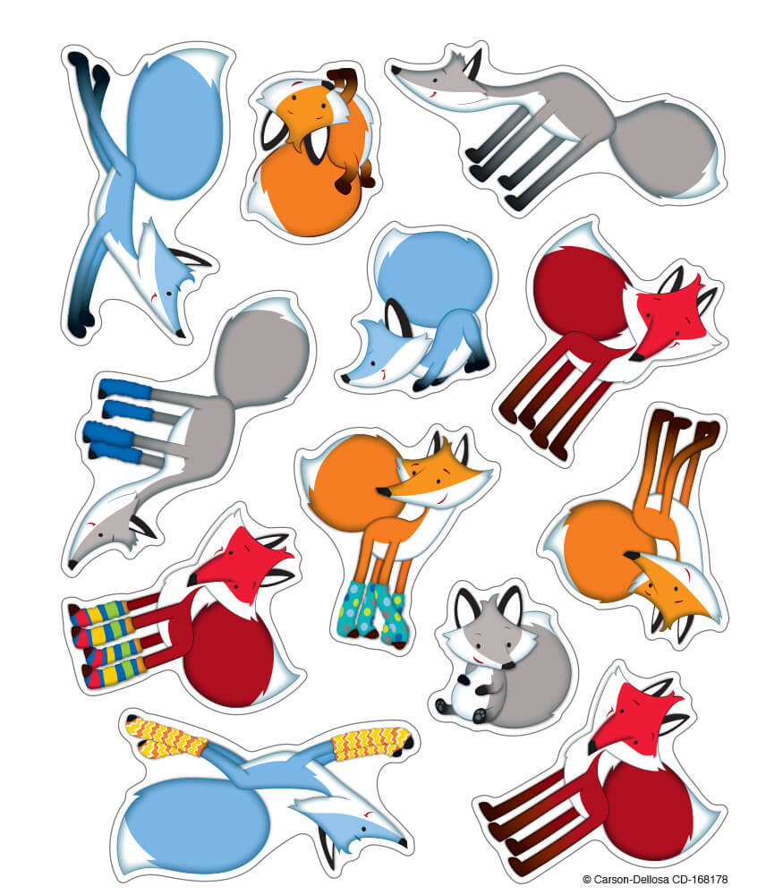 Playful Foxes Shape Stickers Product Image