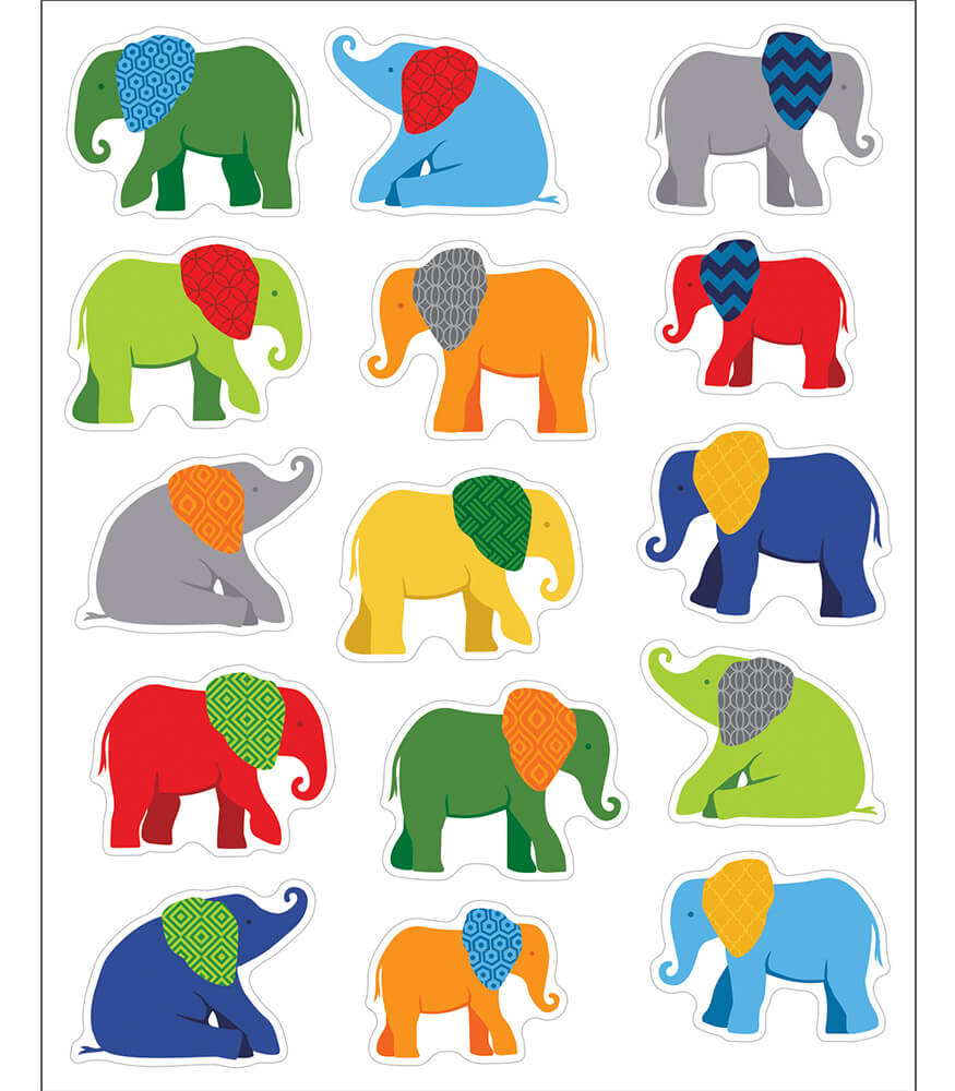 Parade Of Elephants Shape Stickers