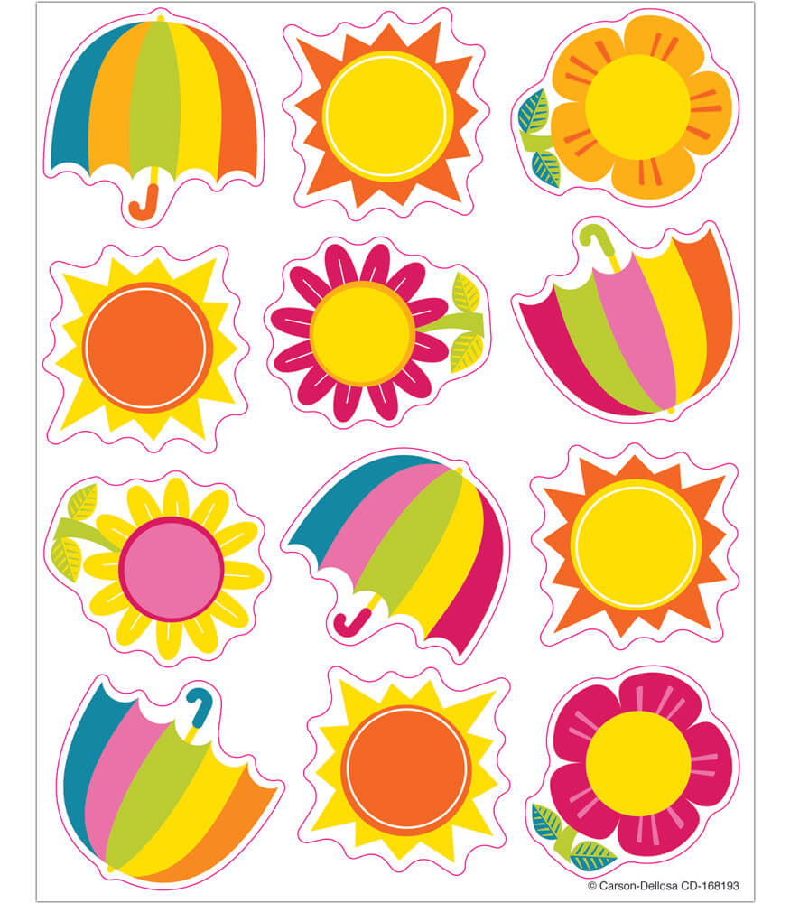 Spring Showers & Sun Shape Stickers Product Image