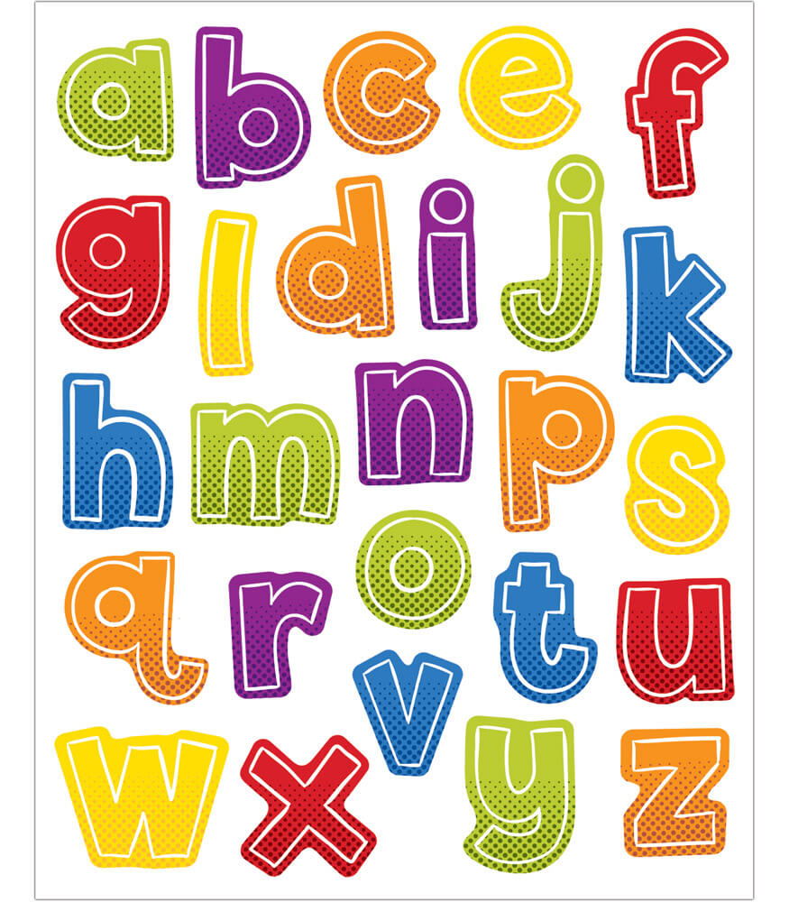 Super Power Alphabet Lowercase Letters Shape Stickers Product Image