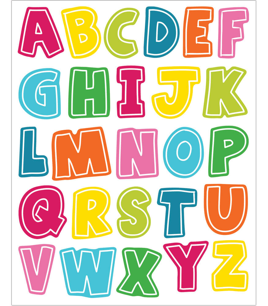 School Pop Alphabet Uppercase Letters Shape Stickers Product Image