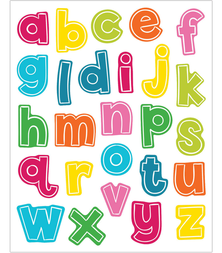 School Pop Alphabet Lowercase Letters Shape Stickers