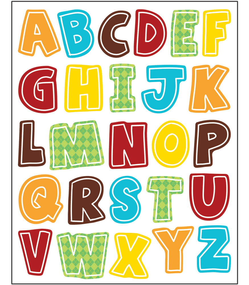 Hipster Alphabet Uppercase Letters Shape Stickers Product Image