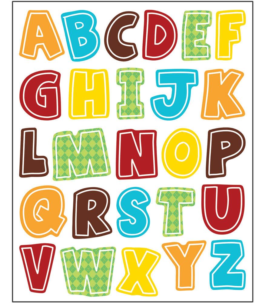 Hipster Alphabet Uppercase Letters Shape Stickers Grade PK 5