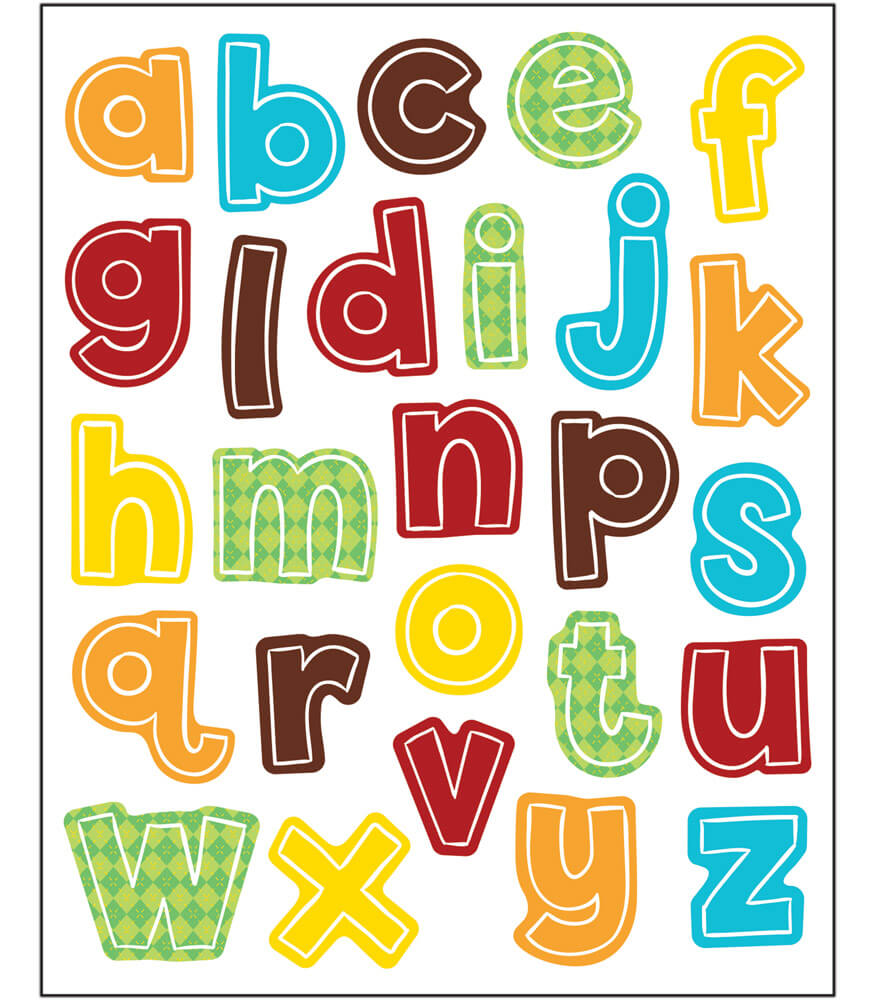 Hipster Alphabet Lowercase Letters Shape Stickers Product Image