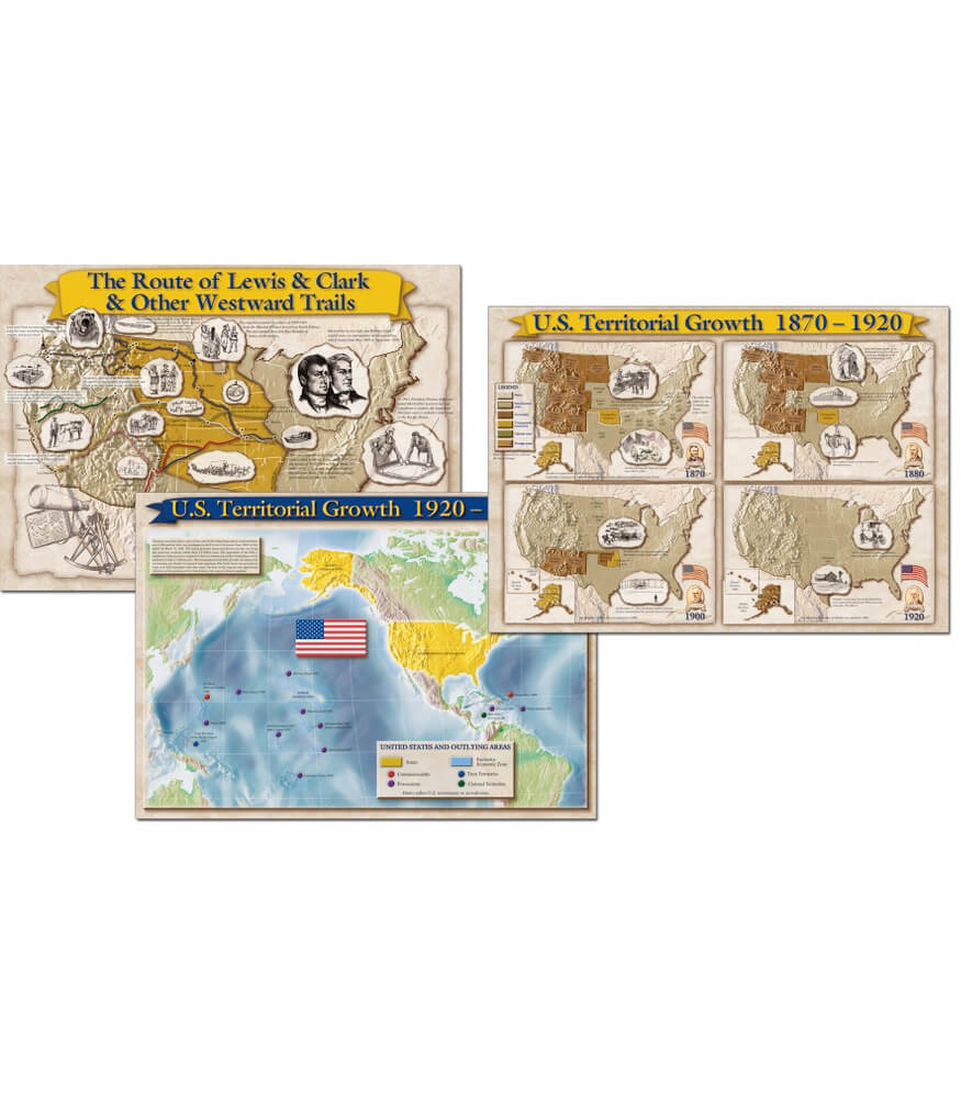 Historical Maps of The United States Bulletin Board Set Grade 4-8