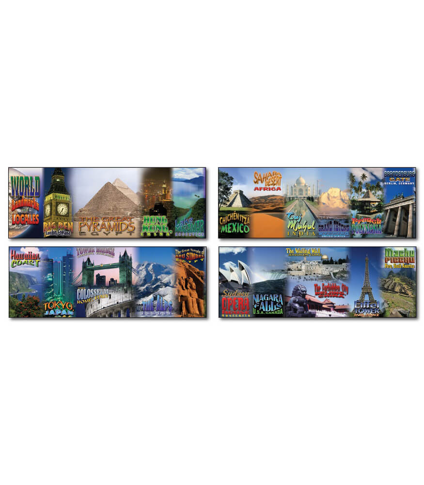 World Landmarks and Locales Topper Bulletin Board Set Product Image