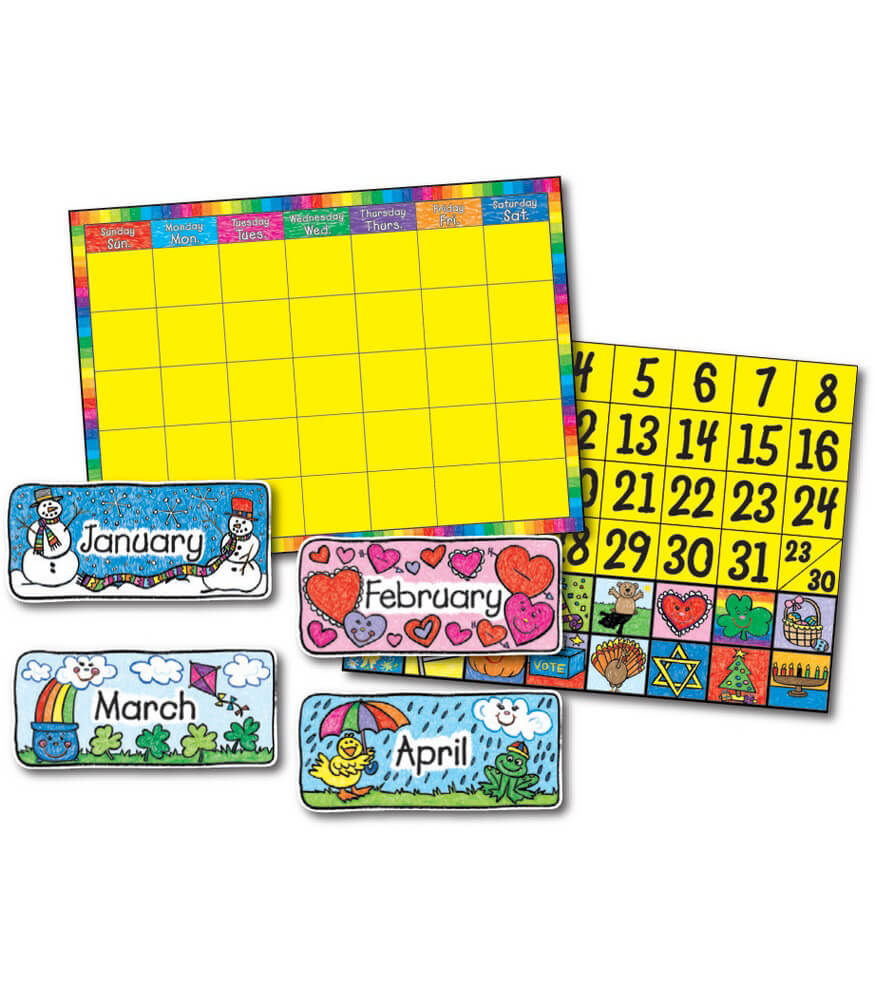 Classroom Calendar Bulletin Board Set : Calendar set kid drawn bulletin board grade pk
