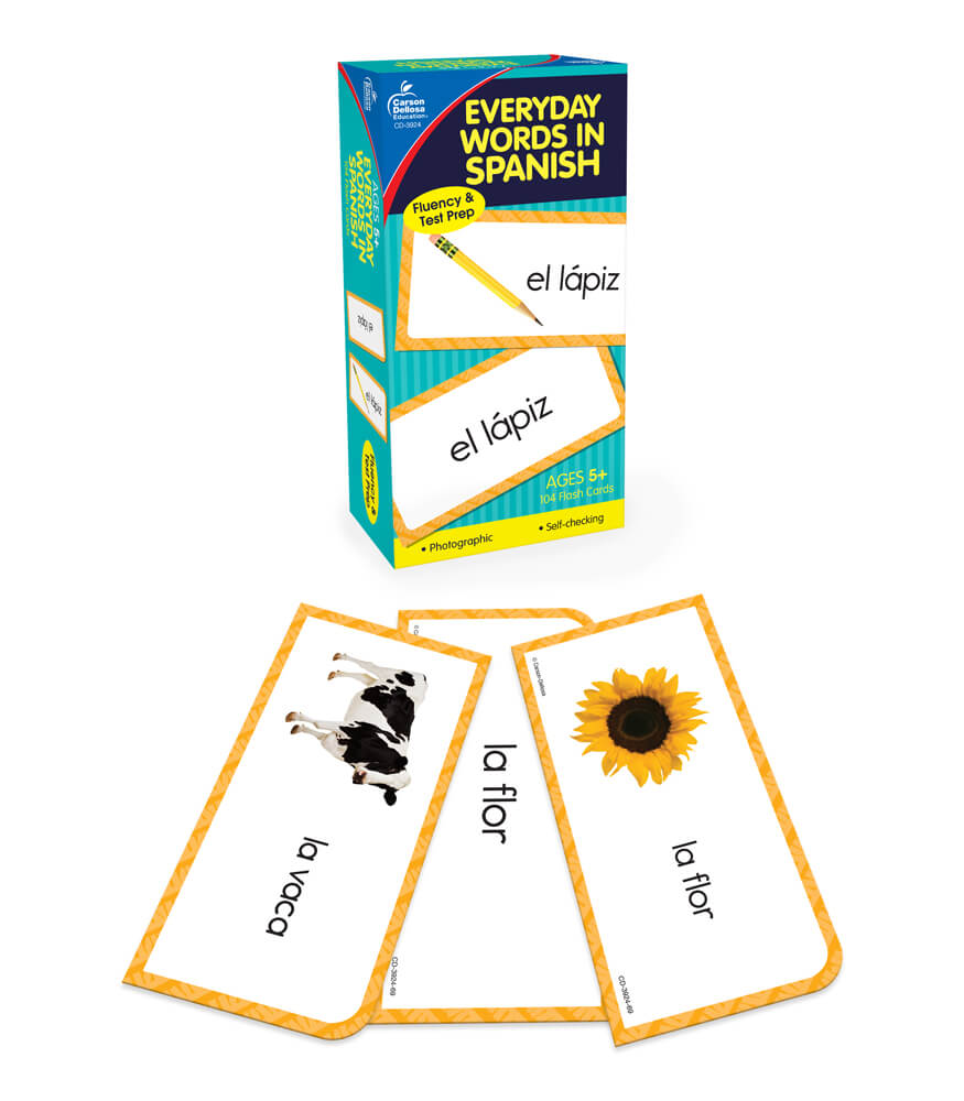 Everyday Words in Spanish: Photographic Flash Cards Grade PK-8