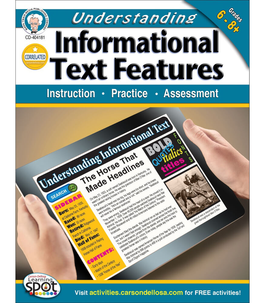 Understanding Informational Text Features Workbook Product Image