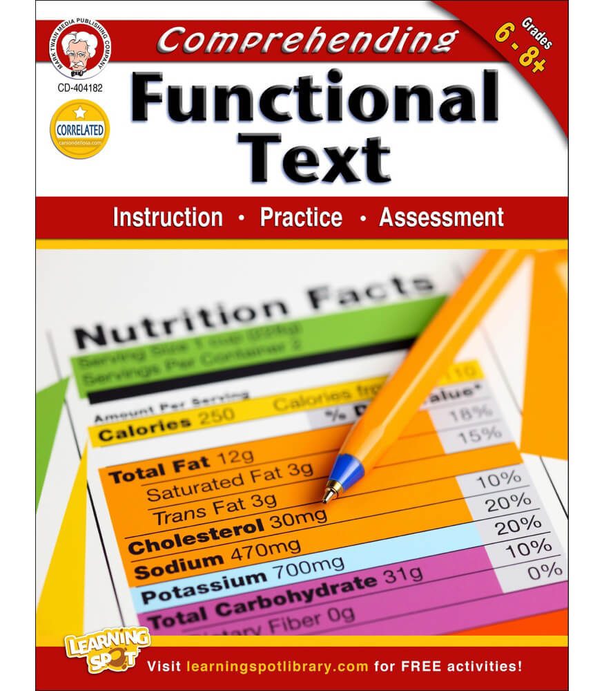 Worksheets Functional Reading Worksheets comprehending functional text workbook grade 6 8 carson dellosa workbook