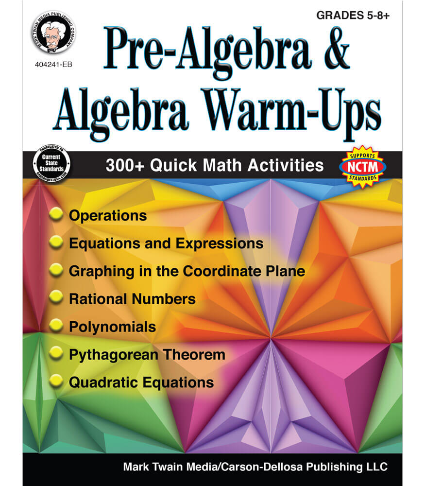 Pre-Algebra and Algebra Warm-Ups Resource Book Product Image