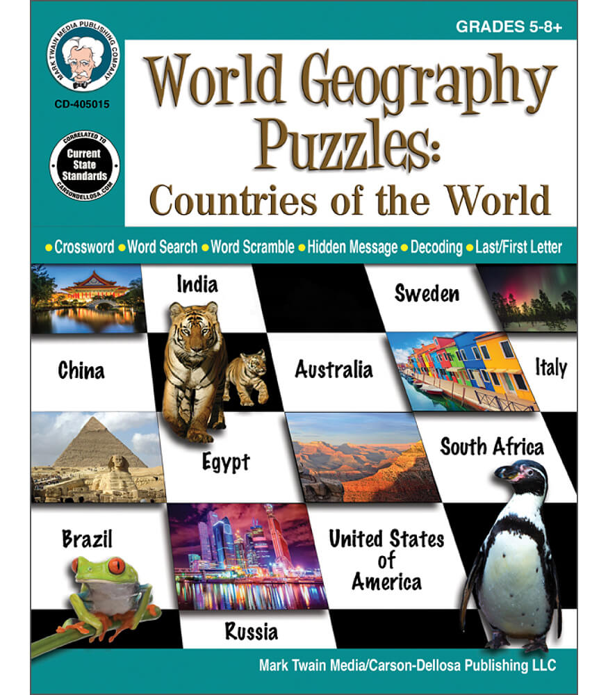 Social studies mark twain media world geography puzzles countries of the world workbook fandeluxe Choice Image