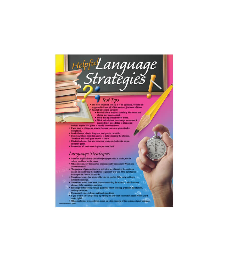 Language Arts Testing Tips Chart Product Image