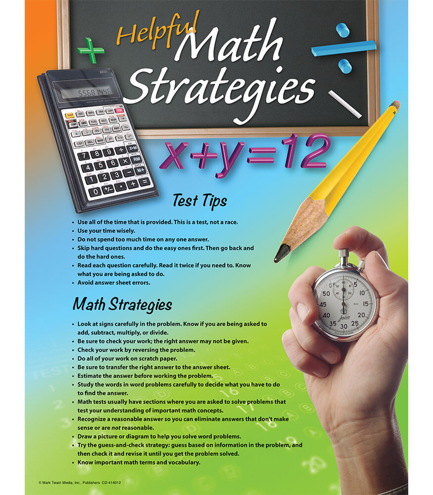 Mathematics Testing Tips Chart Product Image