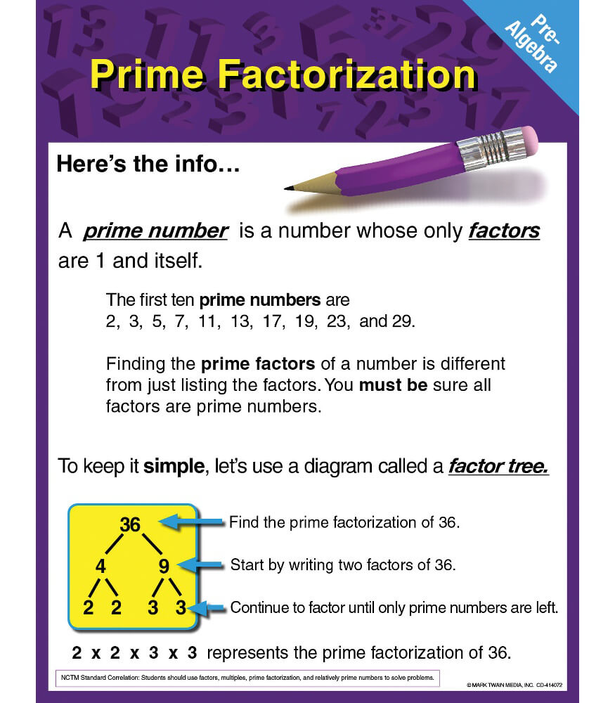 Pre-Algebra: Prime Factorization Chart Product Image