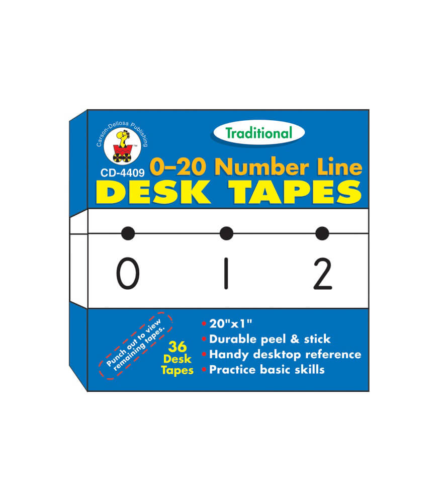 0-20 Number Line - Traditional Desk Tape Product Image