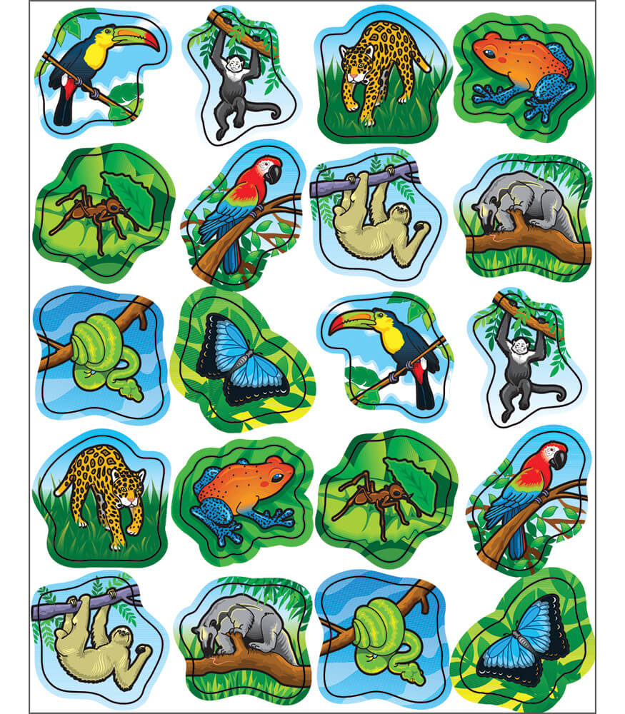 Rainforest Animals Shape Stickers