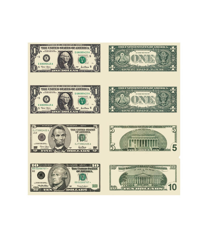 Money, U.S. Bills Shape Stickers Product Image